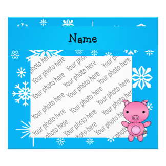 Personalized name pig blue snowflakes photographic print