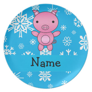 Personalized name pig blue snowflakes party plate