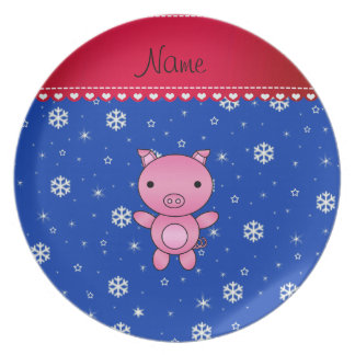 Personalized name pig blue snowflakes plates