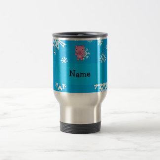 Personalized name pig blue snowflakes travel mug