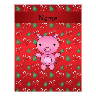 Personalized name pig bows candy canes customized letterhead