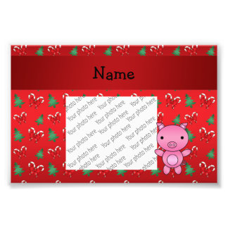 Personalized name pig bows candy canes photograph