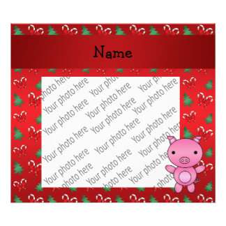 Personalized name pig bows candy canes art photo