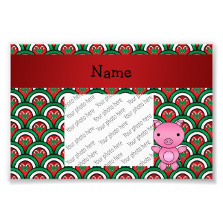 Personalized name pig candy cane bows photo art