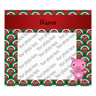 Personalized name pig candy cane bows photograph