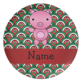 Personalized name pig candy cane bows plates