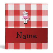 Personalized name pig chef red white checker 3 ring binder