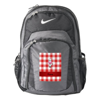 Personalized name pig chef red white checker backpack
