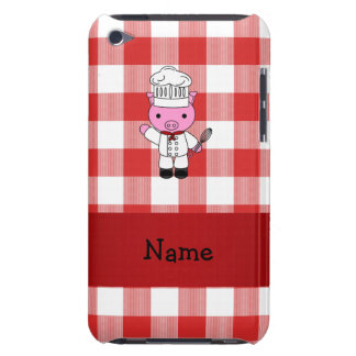 Personalized name pig chef red white checker Case-Mate iPod touch case