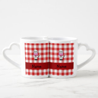 Personalized name pig chef red white checker couples' coffee mug set