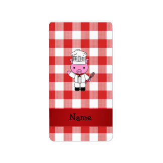 Personalized name pig chef red white checker address label