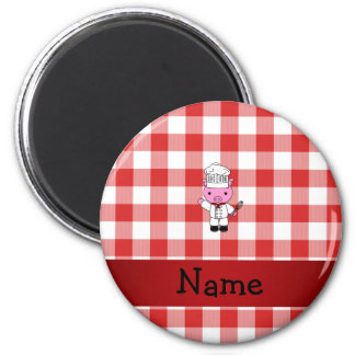 Personalized name pig chef red white checker magnet