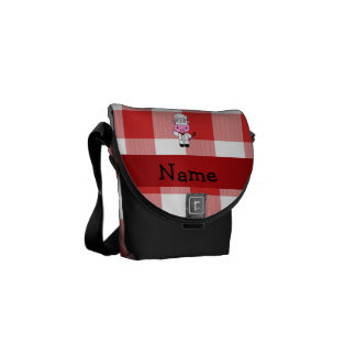 Personalized name pig chef red white checker messenger bags