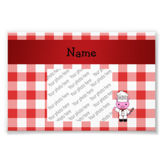 Personalized name pig chef red white checker photographic print