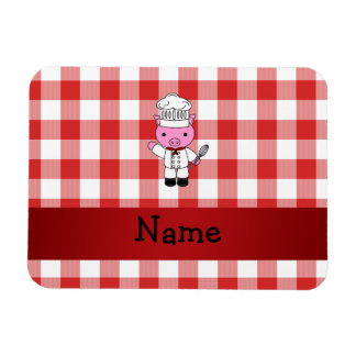 Personalized name pig chef red white checker flexible magnets