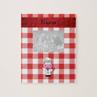 Personalized name pig chef red white checker puzzles