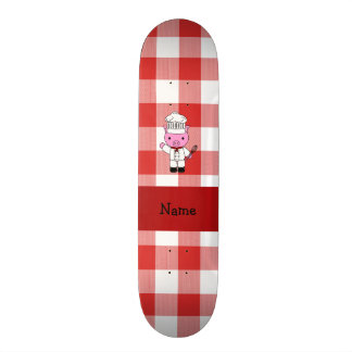 Personalized name pig chef red white checker skate boards