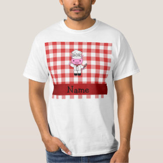 Personalized name pig chef red white checker T-Shirt