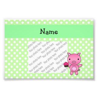 Personalized name pig cupcake green polka dots photographic print