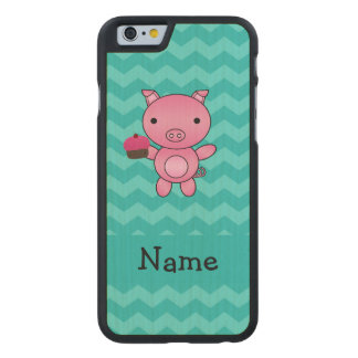 Personalized name pig cupcake turquoise chevrons carved® maple iPhone 6 case