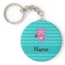 Personalized name pig cupcake turquoise chevrons keychain