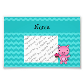 Personalized name pig cupcake turquoise chevrons photo print