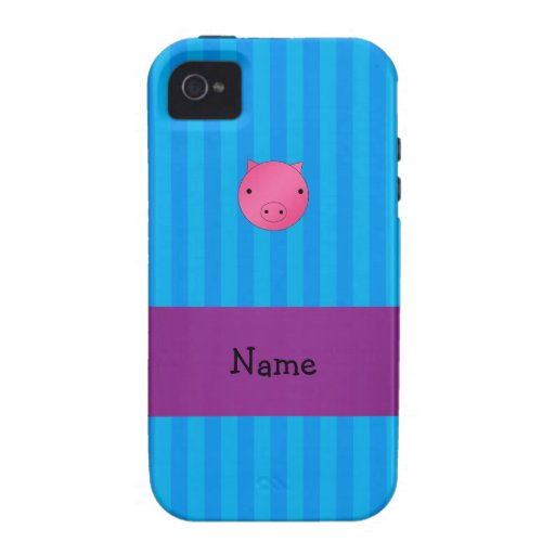 Personalized name pig face blue stripes case for the iPhone 4