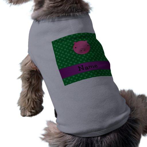Personalized name pig face green shamrocks dog tee shirt