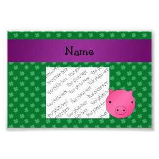 Personalized name pig face green shamrocks photo print