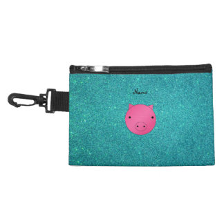 Personalized name pig face turquoise glitter accessories bag