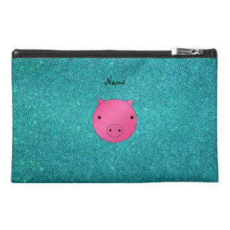 Personalized name pig face turquoise glitter travel accessory bags