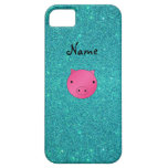 Personalized name pig face turquoise glitter iPhone 5 cover