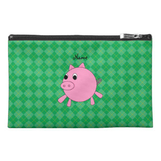 Personalized name pig green argyle travel accessories bag