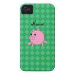 Personalized name pig green argyle iPhone 4 Case-Mate case