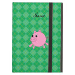 Personalized name pig green argyle iPad cover