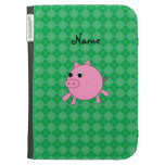 Personalized name pig green argyle kindle 3 case