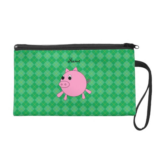 Personalized name pig green argyle wristlet purses