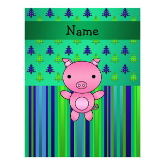 Personalized name pig green blue christmas trees letterhead template