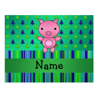 Personalized name pig green blue christmas trees postcard