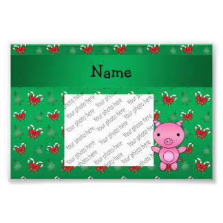 Personalized name pig green candy canes bows photo art