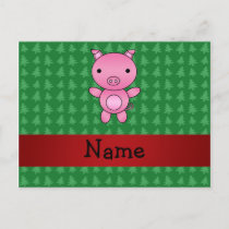 Personalized name pig green christmas trees holiday postcard