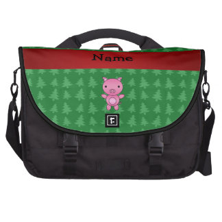 Personalized name pig green christmas trees commuter bag