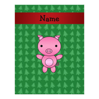 Personalized name pig green christmas trees letterhead