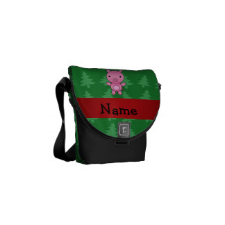 Personalized name pig green christmas trees courier bags