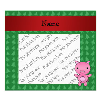 Personalized name pig green christmas trees photographic print