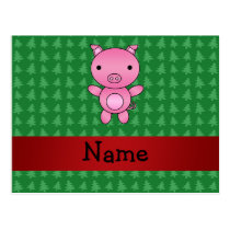 Personalized name pig green christmas trees postcard