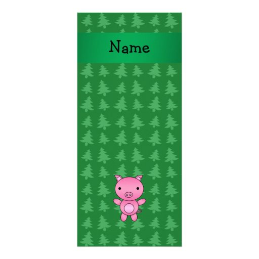 Personalized name pig green christmas trees rack card template