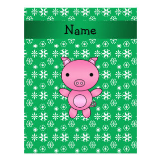 Personalized name pig green snowflakes letterhead