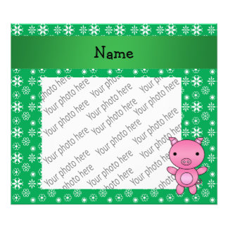 Personalized name pig green snowflakes photograph