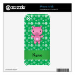 Personalized name pig green snowflakes decal for the iPhone 4
